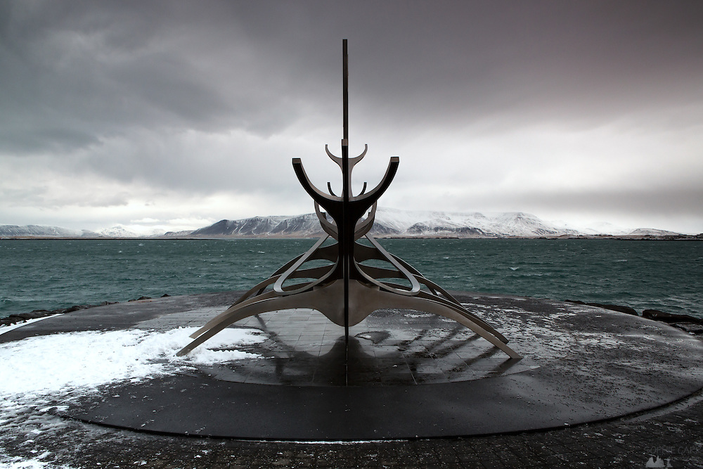 The Solfar or Sun Voyager sculpture along the waterfront in Reykjavik