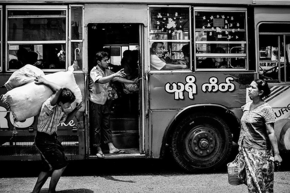 A street scene in Yangon, Myanmar.