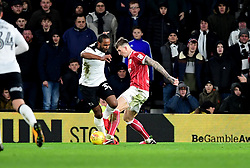 Cameron Jerome of Derby County goes down in the area under the challenge of Aden Flint of Bristol City and is booked for diving  - Mandatory by-line: Joe Meredith/JMP - 19/01/2018 - FOOTBALL - Pride Park Stadium - Derby, England - Derby County v Bristol City - Sky Bet Championship