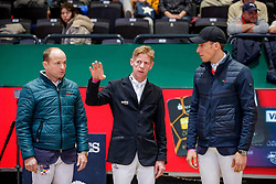 JUNG Michael (GER), EHNING Marcus (GER), VON ECKERMANN Henrik (SWE)<br /> Leipzig - Partner Pferd 2020<br /> Impression am Rande - Parcoursbesichtigung<br /> Longines FEI Jumping World Cup™ presented by Sparkasse<br /> Sparkassen Cup - Großer Preis von Leipzig FEI Jumping World Cup™ Wertungsprüfung <br /> Springprüfung mit Stechen, international<br /> Höhe: 1.55 m<br /> 19. Januar 2020<br /> © www.sportfotos-lafrentz.de/Stefan Lafrentz