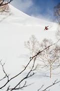 Josh Dirksen, heelside during a break in the storm in the Moiwa resort backcountry. Niseko, Hokkaido, Japan.