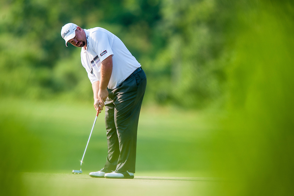 Brendon de Jonge watches his birdie putt on the par-4 11th hole at Congressional CC during the third round of the AT&T National in Bethesda, MD.