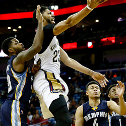 Dec 5, 2016; New Orleans, LA, USA; New Orleans Pelicans forward Anthony Davis (23) shoots as Memphis Grizzlies guard Troy Daniels (30) defends during the second half of a game at the Smoothie King Center. The Grizzlies defeated the Pelicans 110-108 in double overtime.  Mandatory Credit: Derick E. Hingle-USA TODAY Sports