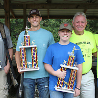 RAY VAN DUSEN/BUY AT PHOTOS.MONROECOUNTYJOURNAL.COM<br /> Top-placed winners in the Cedar Creek Volunteer Fire Department's annual skeet shot are from left, Cody Chism, second place; Ty Young, first place; Tyler Lee, youth winner; Buzzy Cullum, president of the Cedar Creek VFD Board of Directors; and Caleb Lee, third place.