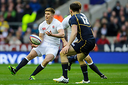 England Fly-Half (#10) Owen Farrell (Saracens) passes the ball during the first half of the match - Photo mandatory by-line: Rogan Thomson/JMP - Tel: Mobile: 07966 386802 02/02/2013 - SPORT - RUGBY UNION - Twickenham Stadium - London. England v Scotland - 2013 RBS Six Nations Championship. The winner of this fixture is awarded the Calcutta Cup.