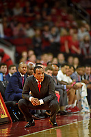 Men's basketball coach Kevin Keatts watches his team during ACC action against UVA in PNC Arena.