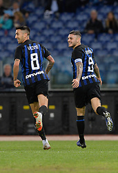 October 29, 2018 - Italy - Mauro Icardi celebrates after scoring goal 0-1 during the Italian Serie A football match between S.S. Lazio and Inter at the Olympic Stadium in Rome, on october 29, 2018. (Credit Image: © Silvia Lor/Pacific Press via ZUMA Wire)