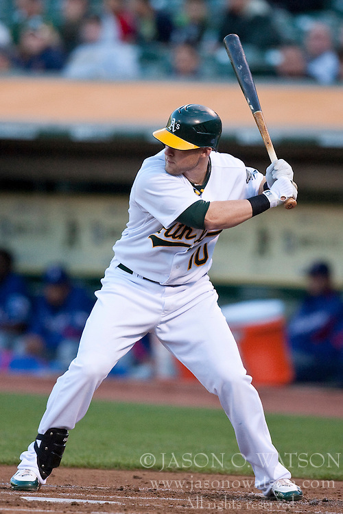 May 4, 2010; Oakland, CA, USA;  Oakland Athletics first baseman Daric Barton (10) at bat against the Texas Rangers during the first inning at Oakland-Alameda County Coliseum. Oakland defeated Texas 7-6.