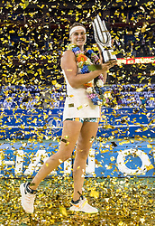 WUHAN, Sept. 29, 2018  Aryna Sabalenka of Belarus poses during the trophy ceremony after winning the singles final match against Anett Kontaveit of Estonia at the 2018 WTA Wuhan Open tennis tournament in Wuhan, central China's Hubei Province, on Sept. 29, 2018. Aryna Sabalenka won 2-0 and claimed the title. (Credit Image: © Xiong Qi/Xinhua via ZUMA Wire)