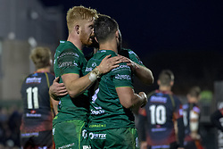 November 3, 2018 - Galway, Ireland - Tom Farrell of Connacht celebrates scoring with teammates during the Guinness PRO14 match between Connacht Rugby and Dragons at the Sportsground in Galway, Ireland on November 3, 2018  (Credit Image: © Andrew Surma/NurPhoto via ZUMA Press)