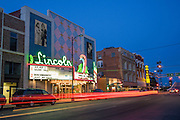 Busy Highway and Lincoln Theatre, Cheyenne, WY, Lincoln Theatre, 1615 Central Ave., image created looking east from west side of Central