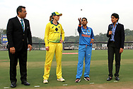 Mithali Raj captain of India and Meg Lanning captain of Australia during the toss of the third women's one day International ( ODI ) match between India and Australia held at the Reliance Cricket Stadium in Vadodara, India on the 18th March 2018<br /> <br /> Photo by Vipin Pawar / BCCI / SPORTZPICS