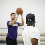 "Markelle Fultz worked out with his training partner, Kenneth Tappin at the North Laurel Community Center ahead of the NBA Draft, in Laurel, MD, on Monday, June 12, 2017. The hashtag, ""#F2G"" is something Fultz has been using in his social media posts and plans on revealing the meaning after the draft. Fultz, 19, a 6'6"" point guard, played one year at the University of Washington and is expected to be the first pick in the NBA draft by the Boston Celtics. John Boal/for The Boston Globe"