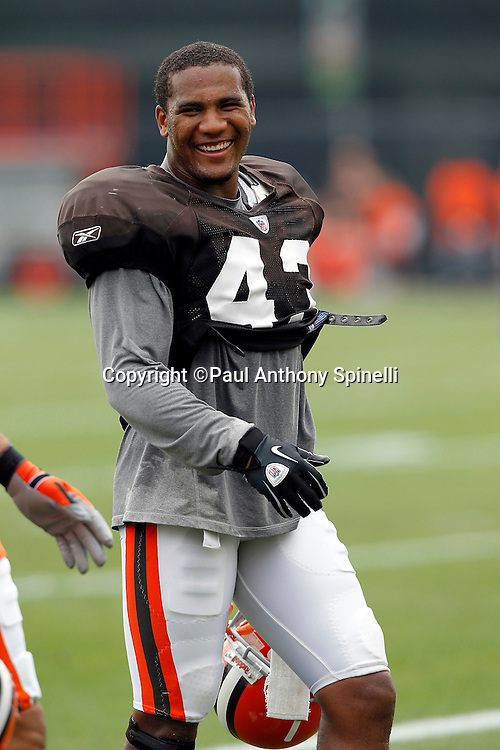Cleveland Browns rookie cornerback T.J. Ward (43) smiles during NFL football training camp at the Cleveland Browns Training Complex on Monday, August 9, 2010 in Berea, Ohio. (©Paul Anthony Spinelli)