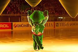 Official mascot dragon Hoki during ice-hockey match between HDD Tilia Olimpija and SAPA Fehervar AV19 at second match in Quarterfinal  of EBEL league, on Februar 21, 2012 at Hala Tivoli, Ljubljana, Slovenia. (Photo By Matic Klansek Velej / Sportida)