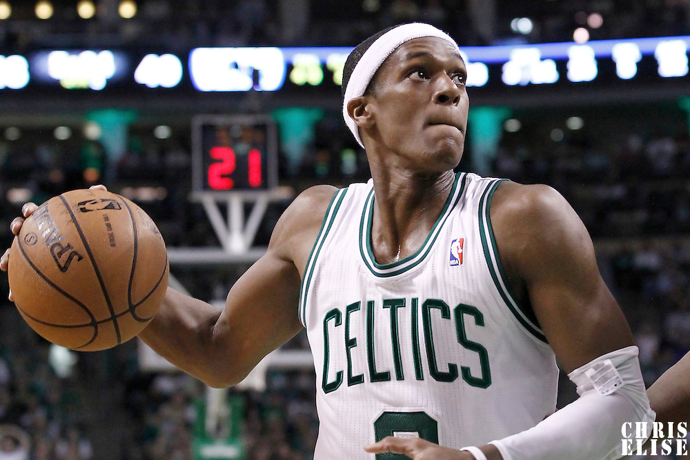 14 May 2012: Boston Celtics point guard Rajon Rondo (9) eyes the basket during the Philadelphia Sixers 82-81 victory over the Boston Celtics, in Game 2 of the Eastern Conference semifinals playoff series, at the TD Banknorth Garden, Boston, Massachusetts, USA.