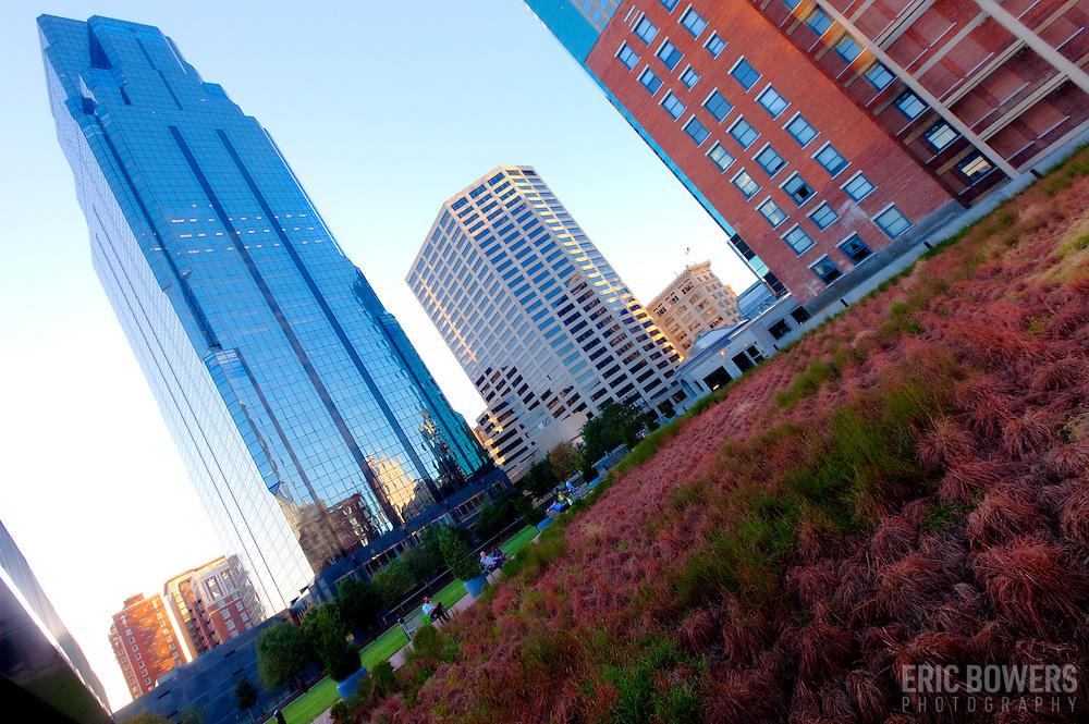 Downtown Kansas City, MO skyscrapers from green roof at the Power and Light District.