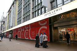 © Licensed to London News Pictures. 10/01/2019. London, UK. In the seven weeks to 5 January, gross sales at John Lewis & Partners were up 2.5% from last year to £1.16bn, while like-for-like sales at department stores were 1% higher, with particularly positive performances in fashion, beauty and own-brand womenswear, where sales were up 6.8%, 11.2% and 14.7%, respectively. However, John Lewis staff bonus is under threat. Shoppers walks past the John Lewis store on Oxford Street. Photo credit: Dinendra Haria/LNP