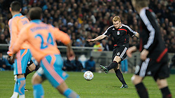 MARSEILLE, FRANCE - Tuesday, December 11, 2007: Liverpool's John Arne Riise fires in a shot against Olympique de Marseille during the final UEFA Champions League Group A match at the Stade Velodrome. (Photo by David Rawcliffe/Propaganda)
