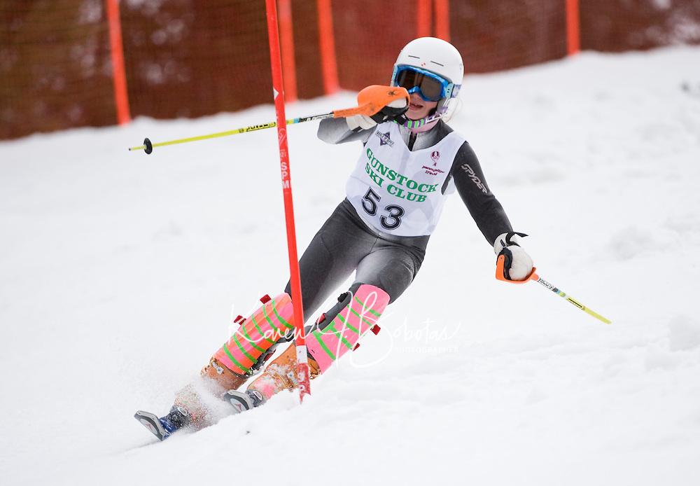 J4 girls second run of slalom during  BWL Championships at Gunstock Mountain Resort March 13, 2010....