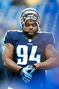 NASHVILLE, TN - NOVEMBER 29:  Sammie Hill #94 of the Tennessee Titans warming up before a game against the Oakland Raiders at Nissan Stadium on November 29, 2015 in Nashville, Tennessee.  The Raiders defeated the Titans 24-21.  (Photo by Wesley Hitt/Getty Images) *** Local Caption *** Sammie Hill
