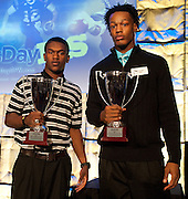 Offensive player of the year Dontre Wilson of DeSoto and defensive player of the year Daeshon Hall of Lancaster pose after receiving their awards at SportsDayHS' third-annual football Heroes Banquet at the Omni Hotel on Thursday, January 17, 2013 in Dallas. (Cooper Neil/The Dallas Morning News)