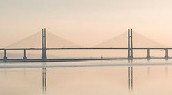 © Licensed to London News Pictures. 21/02/2019. Chepstow, Monmouthshire, UK. View of the Second Severn Crossing. Views around the Severn Bridge and the Second Severn Crossing. Photo credit: Simon Chapman/LNP