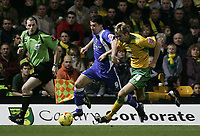 Photo: Barry Bland.<br />Norwich City v Cardiff City. Coca Cola Championship.<br />01/11/2005.<br />Calum Davenport and Alan Lee.
