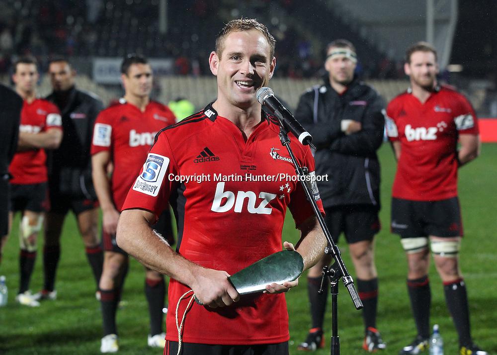 "Andy Ellis celebrates his 100th game for the Crusaders with ""mere"". Crusaders v Blues. Investec Super Rugby Season. AMI Stadium, Christchurch, New Zealand. Saturday 18 May 2013. Photo: Martin Hunter/Photosport.co.nz"