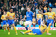 Mansfield Town defender Zander Diamond (6) clears the danger from Chesterfield midfielder Joe Rowley (15) during the EFL Sky Bet League 2 match between Chesterfield and Mansfield Town at the Proact stadium, Chesterfield, England on 14 A pril 2018. Picture by Nigel Cole.