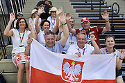 Polish VIP delegation (R-L) Malgorzata Polap and Janusz Weoslowski and Michal Olszanski and Tadeusz Tomaszewski and Jaroslaw Duda and Dorota Idzi support Polish team while basketball match SO Poland v SO Israel during second day of the Special Olympics World Games Los Angeles 2015 on July 26, 2015 on Galen Center at University of Southern California in Los Angeles, USA.<br /> USA, Los Angeles, July 26, 2015<br /> <br /> Picture also available in RAW (NEF) or TIFF format on special request.<br /> <br /> For editorial use only. Any commercial or promotional use requires permission.<br /> <br /> Adam Nurkiewicz declares that he has no rights to the image of people at the photographs of his authorship.<br /> <br /> Mandatory credit:<br /> Photo by &copy; Adam Nurkiewicz / Mediasport