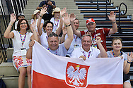 Polish VIP delegation (R-L) Malgorzata Polap and Janusz Weoslowski and Michal Olszanski and Tadeusz Tomaszewski and Jaroslaw Duda and Dorota Idzi support Polish team while basketball match SO Poland v SO Israel during second day of the Special Olympics World Games Los Angeles 2015 on July 26, 2015 on Galen Center at University of Southern California in Los Angeles, USA.<br /> USA, Los Angeles, July 26, 2015<br /> <br /> Picture also available in RAW (NEF) or TIFF format on special request.<br /> <br /> For editorial use only. Any commercial or promotional use requires permission.<br /> <br /> Adam Nurkiewicz declares that he has no rights to the image of people at the photographs of his authorship.<br /> <br /> Mandatory credit:<br /> Photo by © Adam Nurkiewicz / Mediasport