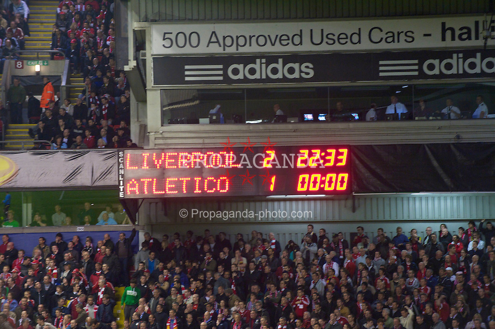 LIVERPOOL, ENGLAND - Thursday, April 29, 2010: The Anfield scoreboard records Liverpool's 2-1 victory over Club Atletico de Madrid during the UEFA Europa League Semi-Final 2nd Leg match, unfortunatly the Spanish team go through on aggregate 2-2 with a crucial away goal. (Photo by: David Rawcliffe/Propaganda)