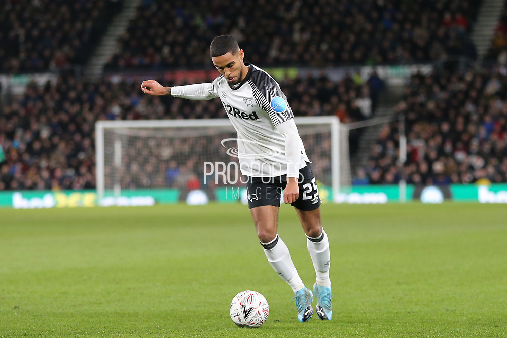 Derby County defender Max Lowe  crosses the ball during the The FA Cup match between Derby County and Manchester United at the Pride Park, Derby, England on 5 March 2020.