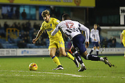 AFC Wimbledon midfielder Tom Beere (16) in action during the EFL Sky Bet League 1 match between Millwall and AFC Wimbledon at The Den, London, England on 22 November 2016. Photo by Stuart Butcher.