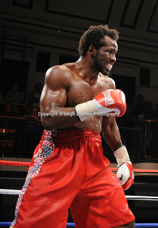 Mike Perez defeats Zack Page (pictured) in 8x3min Heavyweight contest at York Hall 09.11.11. Matchroom Sport. Photo credit: © Leigh Dawney 2011.