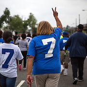 "WASHINGTON, DC -JUNE4:  Council member Yvette Alexander (D-Ward 7) chants, ""Stop the violence, increase the peace,"" during an ant-violence march June 4, 2016, along Benning Road in Washington, DC. Alexander is in the fight for her political life as her one time mentor and former Mayor Vincent Gray mounts a comeback, assailing her for poor constituent services, failure to respond to rising crime in the ward and bungling oversight of St. Elizabeths hospital and DC trust. (Photo by Evelyn Hockstein/For The Washington Post)"