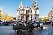 The HAC -The new Lord Mayor (Peter Estlin, the 691st) was sworn in yesterday. To celebrate, today is the annual Lord Mayor's Show. It includes Military bands, vintage buses, Dhol drummers, a combine harvester and a giant nodding dog in the three-mile-long procession. It brings together over 7,000 people, 200 horses and 140 motor and steam-driven vehicles in an event that dates back to the 13th century. The Lord Mayor of the City of London rides in the gold State Coach.