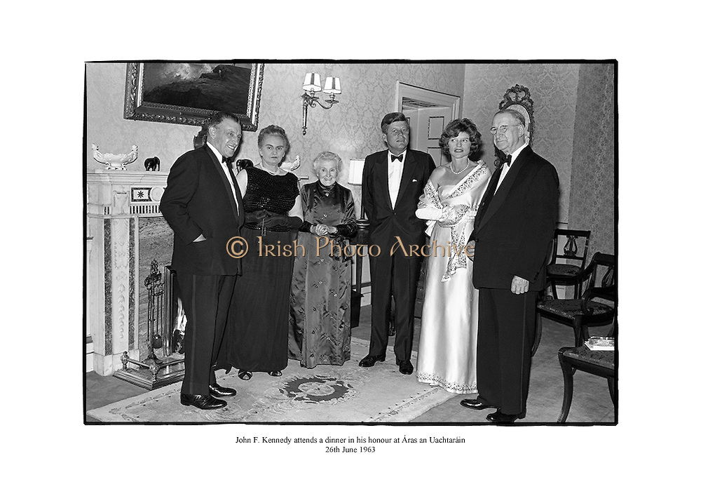 John F. Kennedy attends a dinner in his honour at Áras an Uachtaráin.<br />