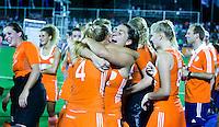 TUCUMAN  Argentinie -  Vreugde bij Oranje , in het midden Malou Pheninckx  na de halve finale wedstrijd in de finaleronde van de Hockey World League, tussen de vrouwen van Nederland en Argentinie. (2-2)  Nederland wint met shoot-outs. FOTO KOEN SUYK