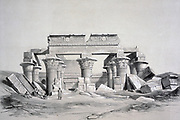 Temple at Kom Ombo. 1843. Lithograph after Owen Jones and Jules Goury. Graeco Temple on the Nile 30 miles north of Aswan, Egypt, built during the Graeco-Roman period  332 BC-395 AD. Dedicated to Sobek and Horus. Religion Mytholgy