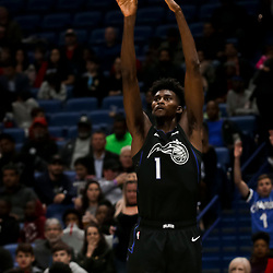 Feb 12, 2019; New Orleans, LA, USA; Orlando Magic forward Jonathan Isaac (1) shoots against the New Orleans Pelicans during the second quarter at the Smoothie King Center. Mandatory Credit: Derick E. Hingle-USA TODAY Sports