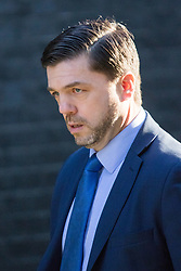 Downing Street, London, March 31st 2016. Work and Pensions - and former Welsh - Secretary Stephen Crabb arrives in Downing Street for an emergency meeting of senior government officials to discuss strategies aimed at saving the British steel industry following Tata Steel's decision to close the loss-making Port Talbot steel plant at Downing Street, London. &copy;Paul Davey<br /> FOR LICENCING CONTACT: Paul Davey +44 (0) 7966 016 296 paul@pauldaveycreative.co.uk
