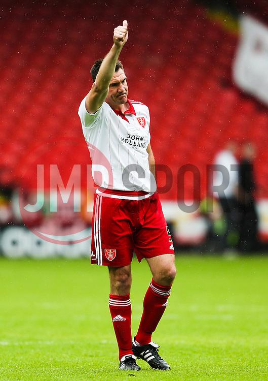 Former Sheffield United captain, Chris Morgan acknowledges the fans after his testimonial match - Mandatory by-line: Matt McNulty/JMP - 26/07/2015 - SPORT - FOOTBALL - Sheffield,England - Bramall Lane - Sheffield United v Newcastle United - Pre-Season Friendly