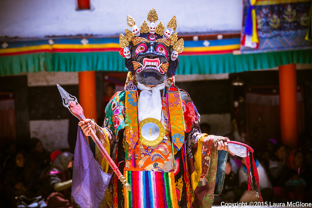 A Monk in traditional costume dances at Chaam Festival, Kye Tibetan Buddhist Monastery, Spiti Valley, India