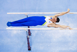 Alen Dimic of Slovenia competes in the Parallel Bars during Final day 2 of Artistic Gymnastics World Cup Ljubljana, on April 27, 2013, in Hala Tivoli, Ljubljana, Slovenia. (Photo By Vid Ponikvar / Sportida.com)