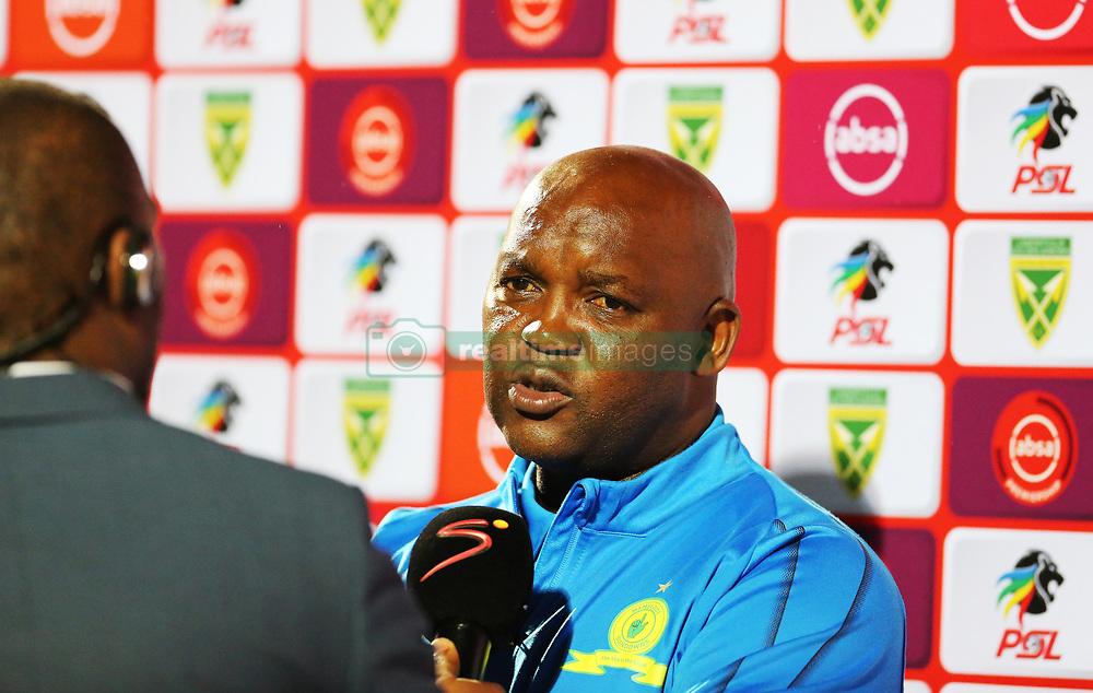 Durban, SOUTH AFRICA - SEPTEMBER 19: Sundowns head coach Pitso Mosimane talking during the Absa Premiership match between Golden Arrows and Mamelodi Sundowns at Princess Magogo Stadium on September 19, 2018 in Durban, South Africa. <br /> (Photo by Motshwari Mofokeng/ANA)