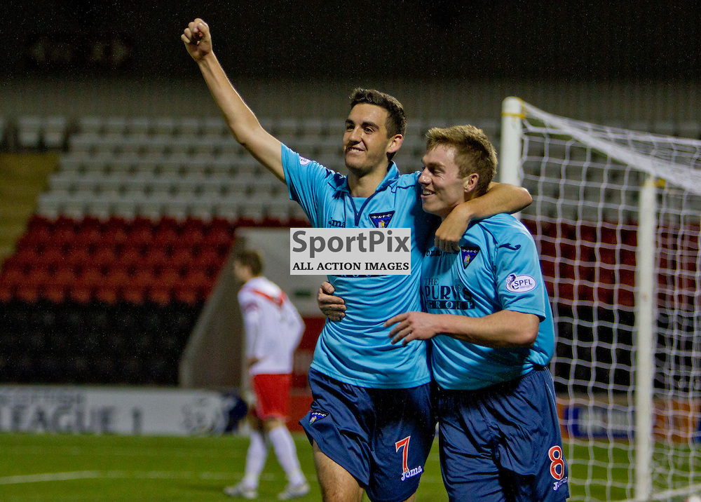Airdrieonians v Dunfermline Athletic SPFL league one Excelsior Stadium 16 November 2013<br /> <br /> Shaun Byrne celebrates with Allan Smith<br /> <br /> CRAIG BROWN | sportPix.org.uk
