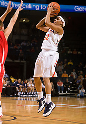 Virginia guard Britnee Millner (12) shoots a jump shot against St. Francis.  The #15 ranked Virginia Cavaliers defeated the St. Francis (Pa.) Red Flash 82-66 in NCAA Women's Basketball at the John Paul Jones Arena on the Grounds of the University of Virginia in Charlottesville, VA on January 5, 2009.