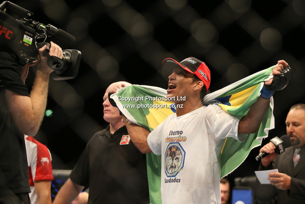Brazilian Charles Oliviera beats Hatsu Kioki during the UFC Ultimate Fighting Championship fight night held at Vector Arena in Auckland on Saturday 28th of July 2014. <br /> Credit; Peter Meecham/ www.photosport.co.nz